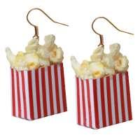 Ohrringe mit Popcorn Tüte in Rot-weiß
