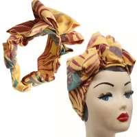 Easy Turban in Gelb mit Blättern - vorgebunden, mit viel Volumen
