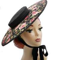 Großer Schwarzer Hut/ Cartwheel Hut aus Stroh & breiter Krempe mit Blumenmuster