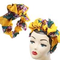 Easy Turban in Gelb mit Hibiskus - vorgebunden, mit viel Volumen
