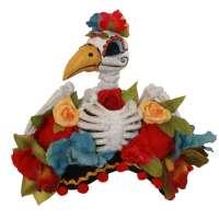 Living dead Hugo - großer Fascinator mit Vogel Skelett & Blumen