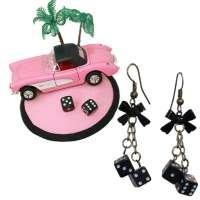 Set: Fascinator Pink Oldtimer and dice earrings