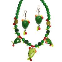 Set: Small green cactus - earrings & necklace
