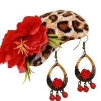 Set: Leo and red flowers - Earrings & Fascinator
