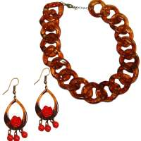 Set: Leo and roses - earrings - necklace