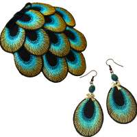 Set: Peacock - Earrings & Fascinator