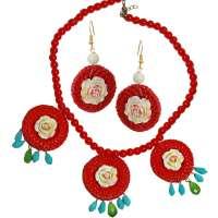 Set: Roter Rattan Ring und Blüte - Ohrringe & Kette