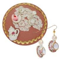 Set 'Teatime' cups - earrings and fascinator