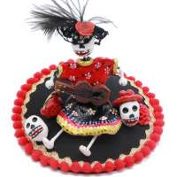 Black and red Fascinator with skeletons - Day of the Dead