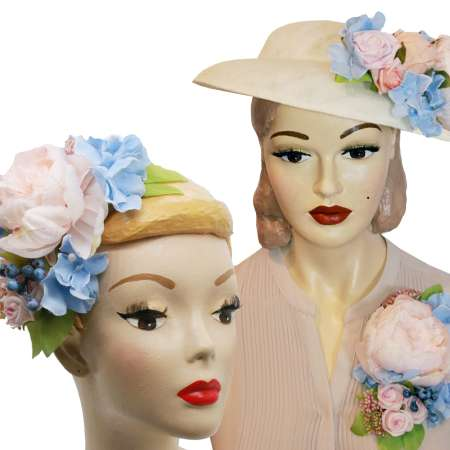 Light big hat with roses & light blue flowers to change