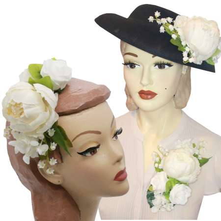 Black big hat with ivory flowers to change