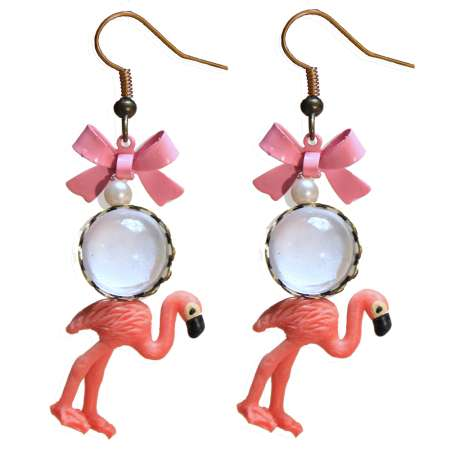 Pink Flamingo - rockabilly earrings with ribbon pink