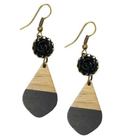 Black & rose - wood & acrylic - earrings rockabilly vintage