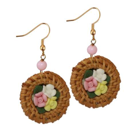 earrings rattan flowers pink white vintage