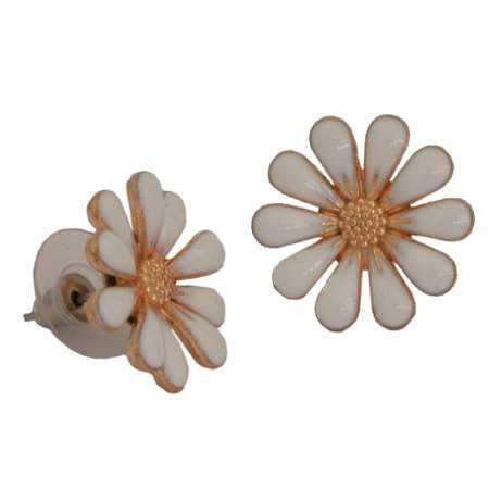 White enamel blossom - vintage style earrings rockabilly