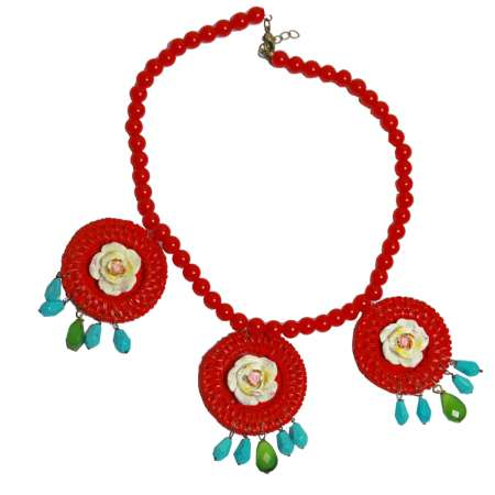 Set: Red rattan ring and flower - earrings & necklace