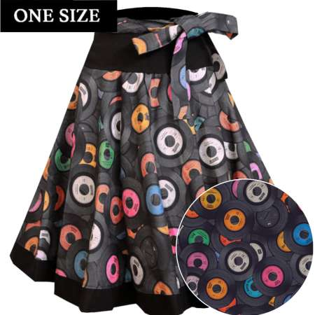 swing skirt records rockabilly black