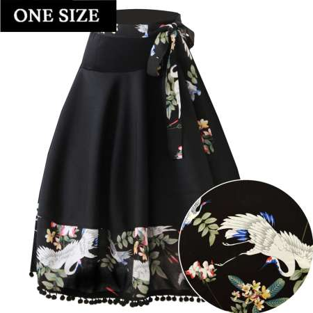 swing skirt braid crane black vintage rockabilly