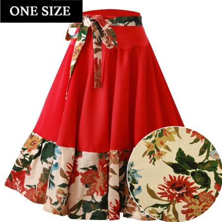 swing skirt red flowers rockabilly vintage one size