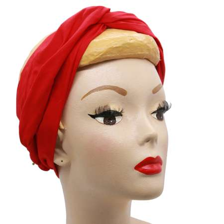 Red turban - long hair band with wire