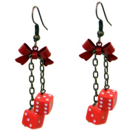 earrings red dices Fuzzy rockabilly