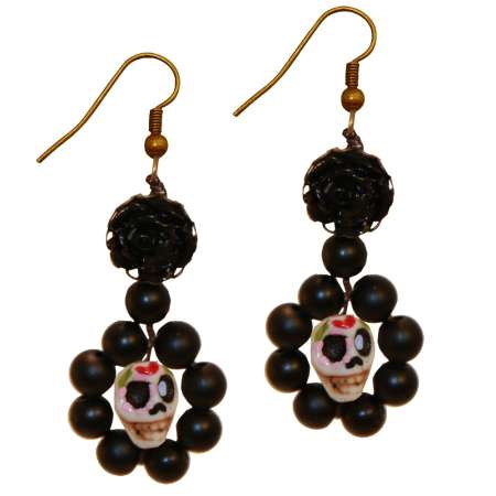 Sugar Skull with flower and beads in black - rockabilly earrings halloween
