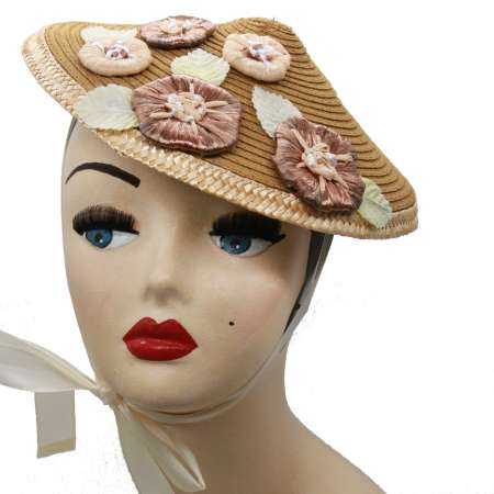 conical brown straw raffia hat vintage Asia red flowers