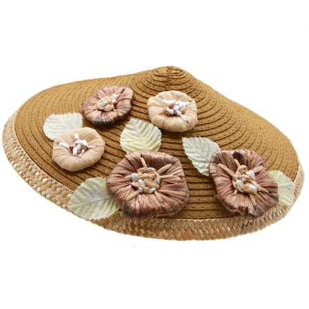 Conical hat brown with light bast flowers