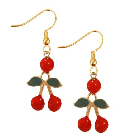 Small red double cherry - rockabilly earrings (gold)