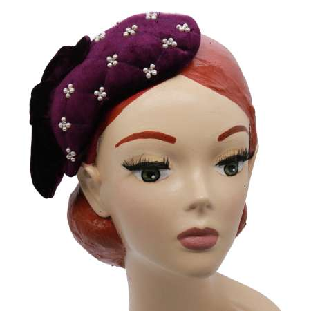 Cocktail hat velvet purple bow pearls