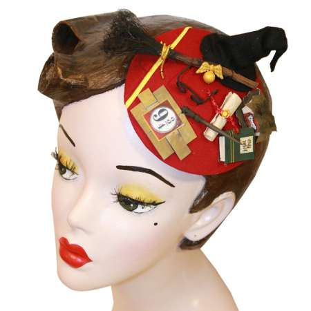 fascinator headpiece potter rot zaubern besen  vintage rockabilly