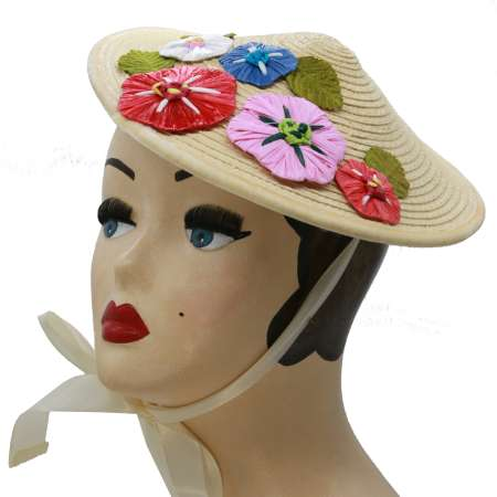conical hat raffia straw hat flowers Asia vintage