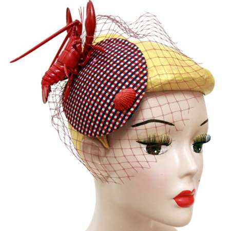 Red lobster fascinator with veil