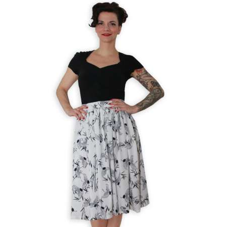 White crane - flared skirt - made to measure