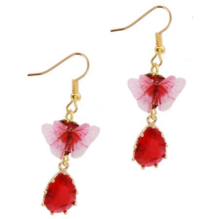 red butterfly earrings golden rhinestone vintage earrings