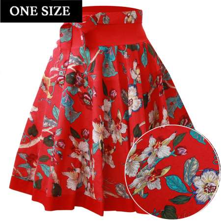 red orchid circle skirt rockabilly vintage one size