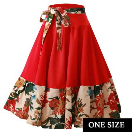 Red and flowers - swing skirt one size