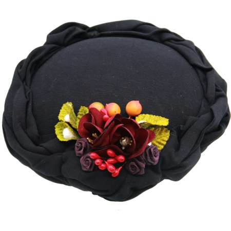 circle hat small round black vintage hat