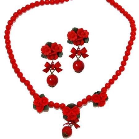 Red roses and pearl - vintage style earrings & necklace