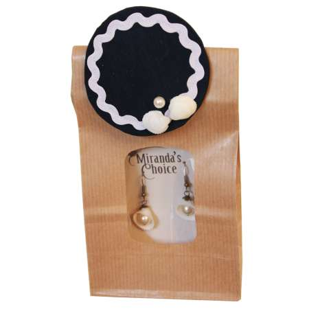 Ahoy - Set with shell earrings and mini fascinator in blue white