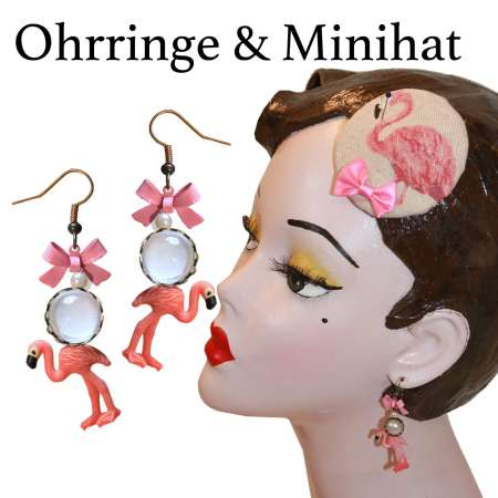 Flamingo - Set with earrings and mini fascinator
