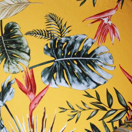 Yellow circle skirt with tropical leaves - one size