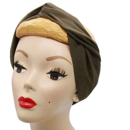 Olive green turban hair band with wire
