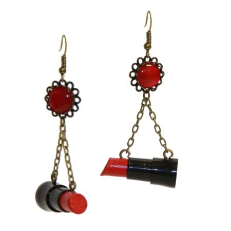 Wilhelmina Af Fera: Earrings - swinging lipsticks earrings