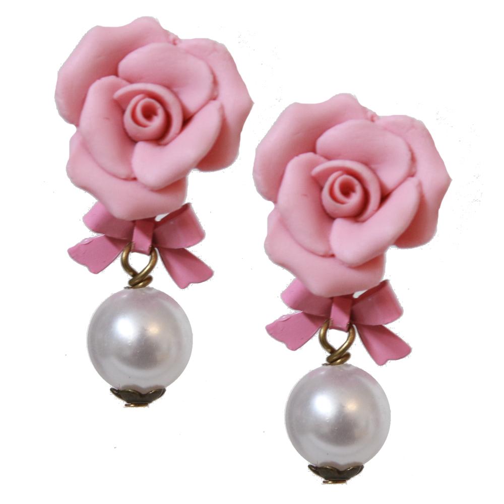 Vintage pink clip on earrings Large pink flower clip  on earrings Vintage pink floral clip on earrings Vintage flower power earrings.