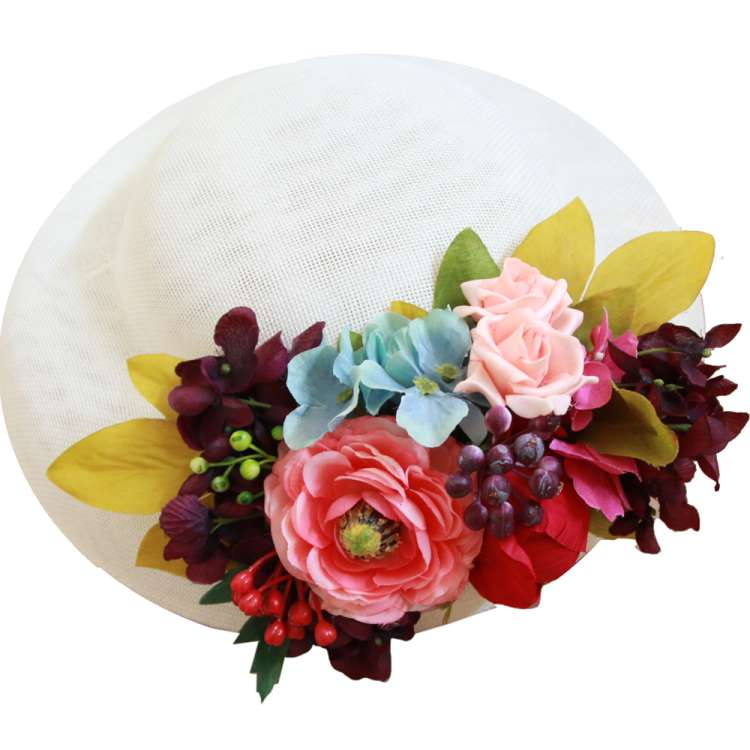 hat white corsage flower colorful vintage rockabilly