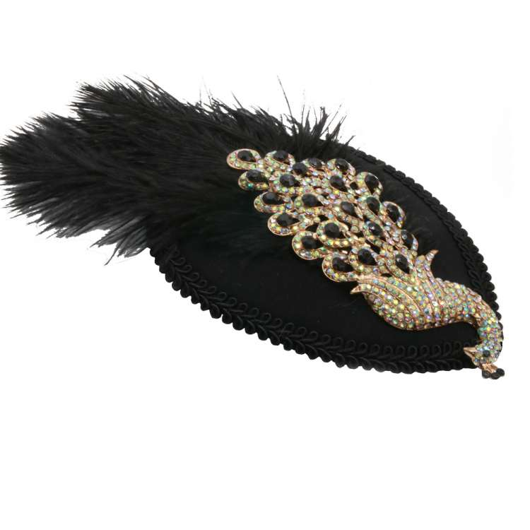 Fascinator with decorative peacock, rhinestones and feather in black