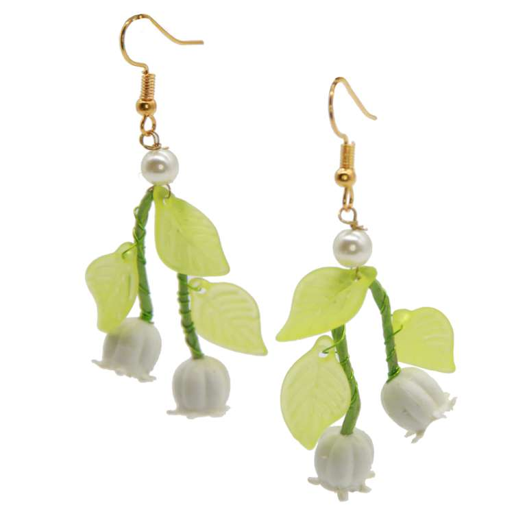 Earrings with lily of the valley and leaves