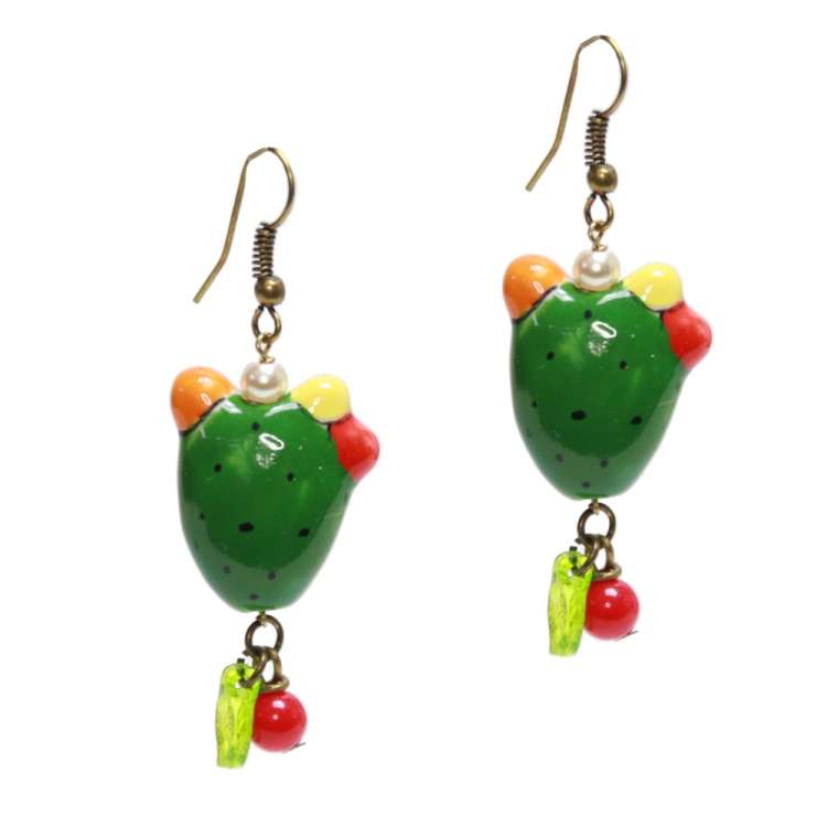 Small green cactus - Mexican rockabilly earrings