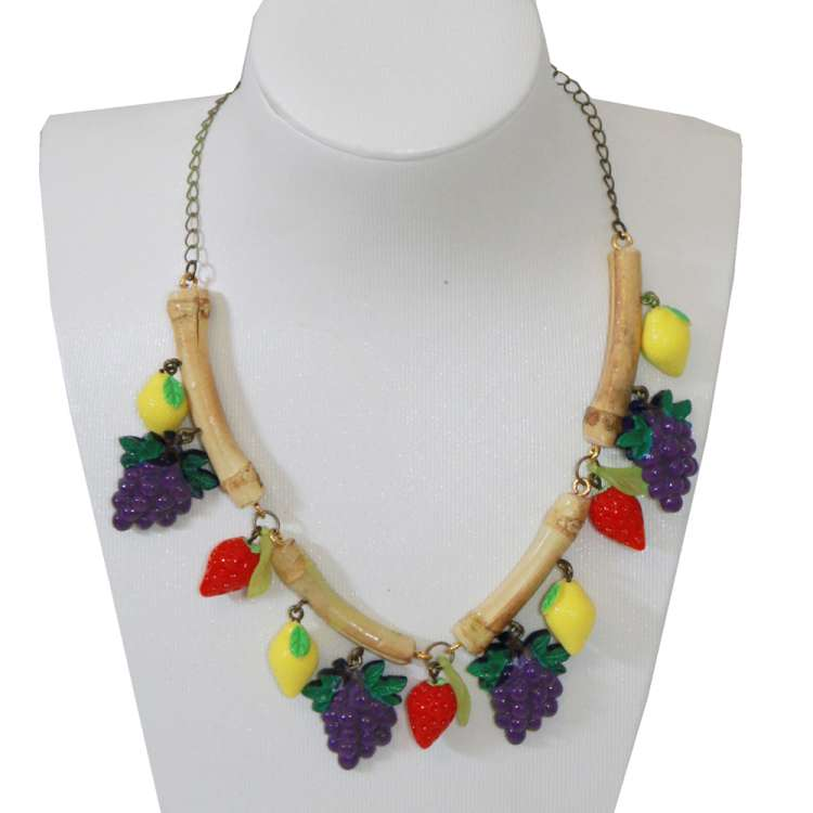 Set: Bamboo and fruit - earrings & necklace